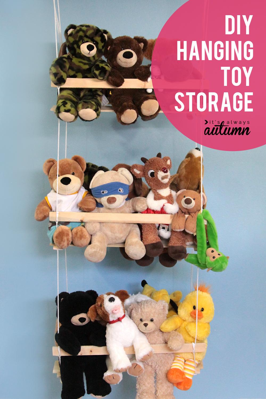 Diy Hanging Toy Storage To Organize The Stuffed Animals It S Always Autumn