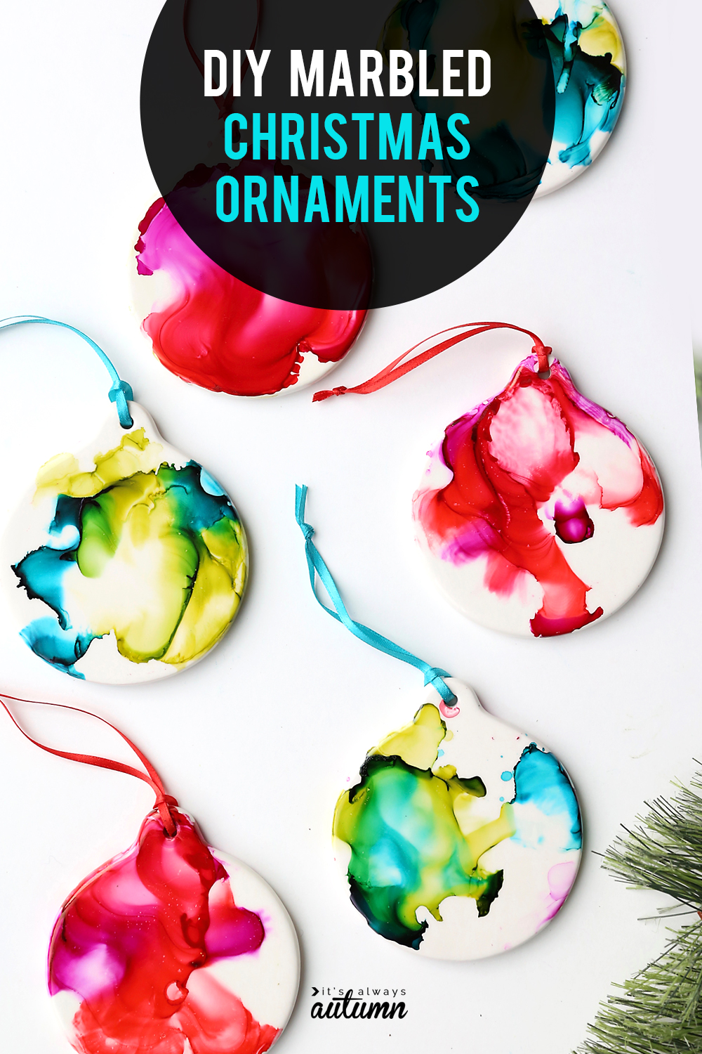 Make Pretty Marbled Christmas Ornaments With Ink And Fire It S Always Autumn